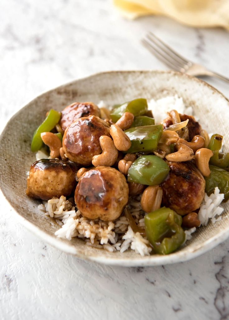 Chinese Cashew Chicken MEATBALLS recipe! A gorgeous sauce, just like what you get from the best Chinese restaurants, juicy chicken meatballs and cashews.