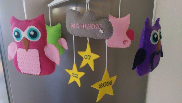 Mobiel gebaseerd op stickerposter van de kamer van mijn kleindochter. Handmade eigen ontwerp en creatie.
