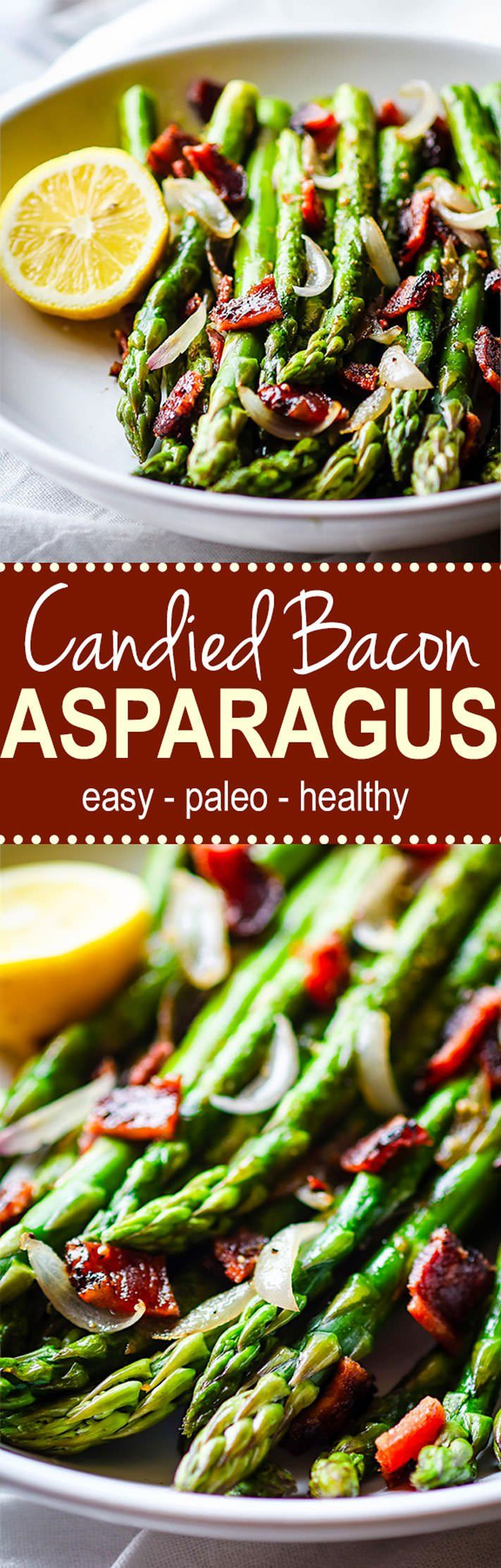 Easy Peppered Candied Bacon and Asparagus It's paleo gluten free and super simple to make! Bacon and Asparagus
