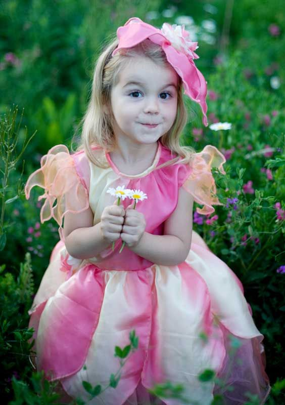 Rose Petal Flower Fairy ~     This adorable Flower Fairy fancy dress costume comes with a matching flower hat.  Sizing: M  (4-6 years) £36.00