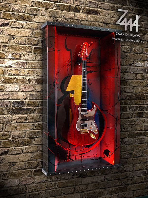 "Wall guitar display ""Rythm ... Rock, Jazz, Blues"