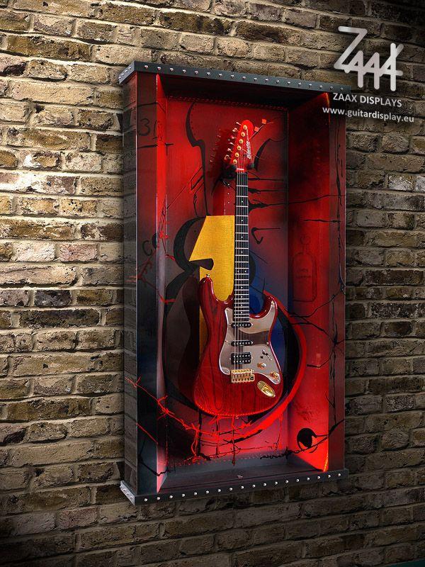 "Wall guitar display ""Rythm ... Rock, Jazz, Blues"