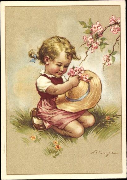 Künstler Ak Lingen, Mädchen mit Strohhut, Blüten