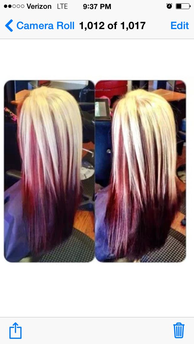 Blonde with red underneath(: adorable
