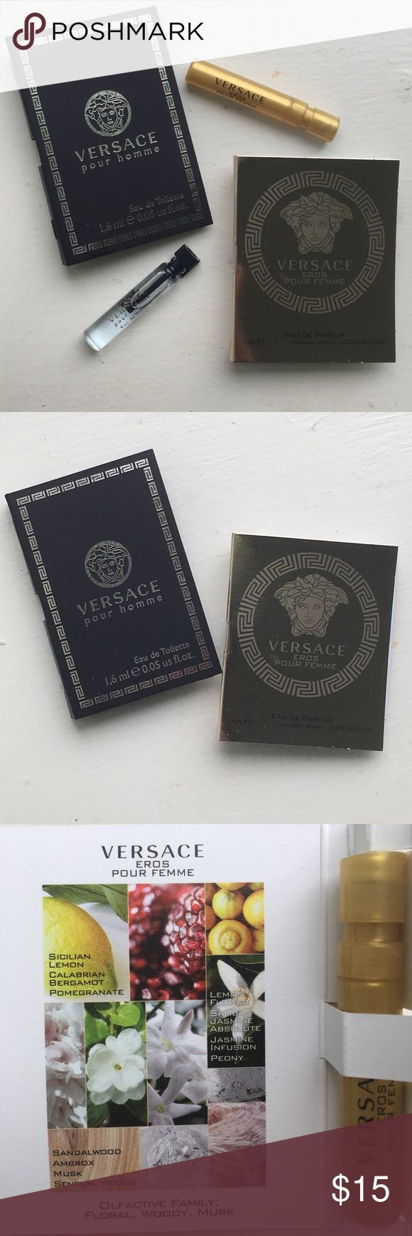 🆕🤴🏻👸🏻NEW🤴🏻👸🏻Versace His+Hers 2Pc Travel. 🆕🤴🏻👸🏻NEW🤴🏻👸🏻Versace His+Hers 2Pc Travel Sz Set. Versace Pour Homme for Him. Versace Eros Pour Femme for Her. Both Are Atomizers. His 0.05oz Her 0.03oz. BRAND NEW! UNTOUCHED! 🚫Trades Versace Makeup