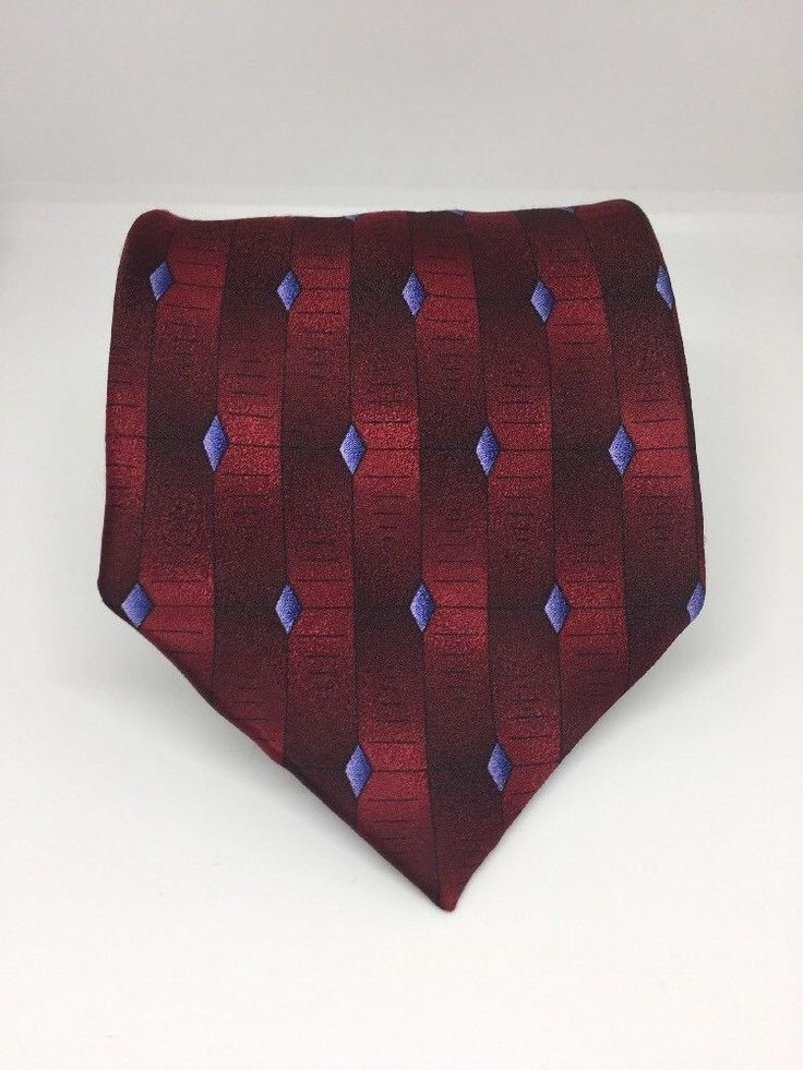 Grateful Dead Men's Tie. Morning Rain - twenty-second set. 100 % Silk. Red with Blue Diamond Graphic Print. Hand Made. | eBay!