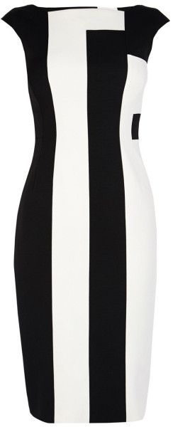 Karen Millen Black & White Sleeveless Dress SS-2015 #Chic #MonochromaticLook