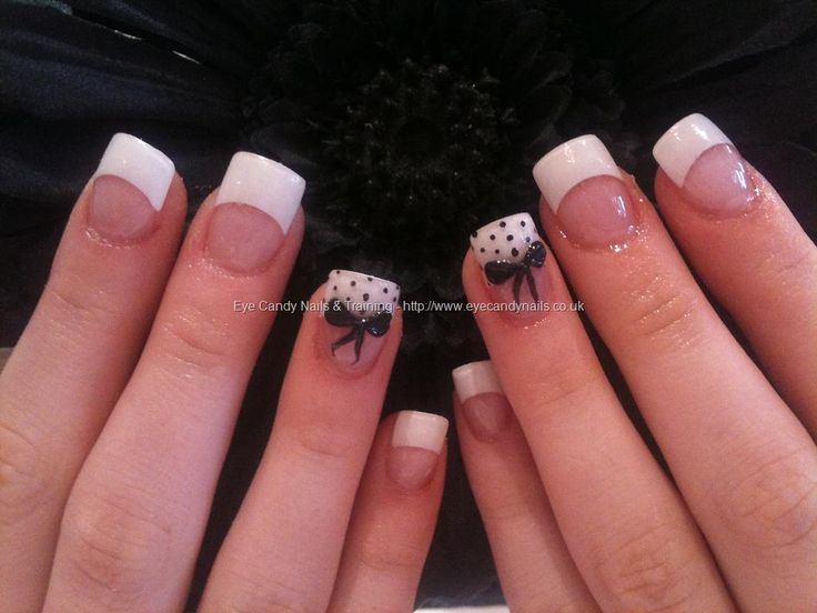 bow nails | Nails & Training - Nails Gallery: White tips with 3D acrylic bows ...