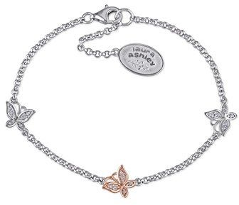 Laura Ashley Diamond Butterfly Bracelet With Chain.