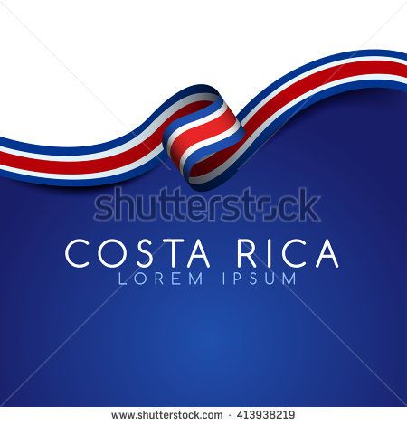 Costa Rica Flag Ribbon : Vector Illustration