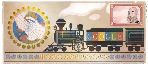 190.º aniversario del nacimiento de Sandford Fleming, inventor del huso horario  gran experto en trenes.
