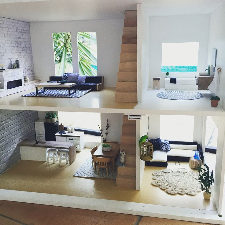 Modern miniature dollhouse renovation More photos Instagram @onebrownbear