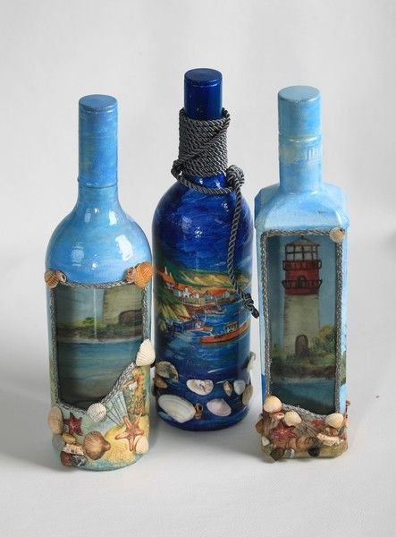 decoupage, bottles neat idea for wedding on the beach to Send a message in a bottle or to take on a cruise