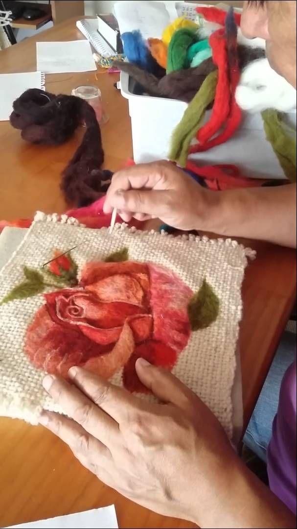Pintando con vellon agujado