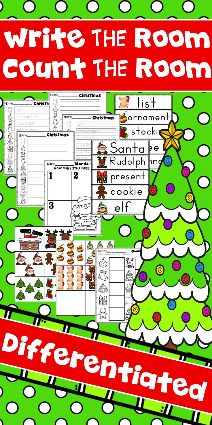 A Christmas holiday write the room activity is always a fun way to keep the kindergarten student engaged in literacy centers or daily five 5.  This Christmas activity is a fun writing activity with differentiated pages that are fun, yet cover kindergarten skills for writing and phonemic awareness.  A count the room Christmas activity is also included for math centers.