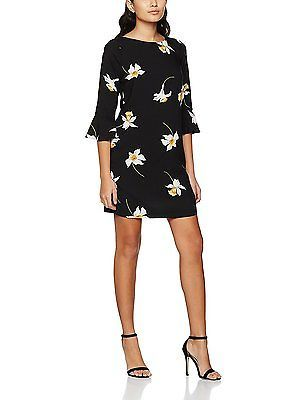 4, Black, Dorothy Perkins Petite Women's Daffodil Flute Sleeve Dress NEW