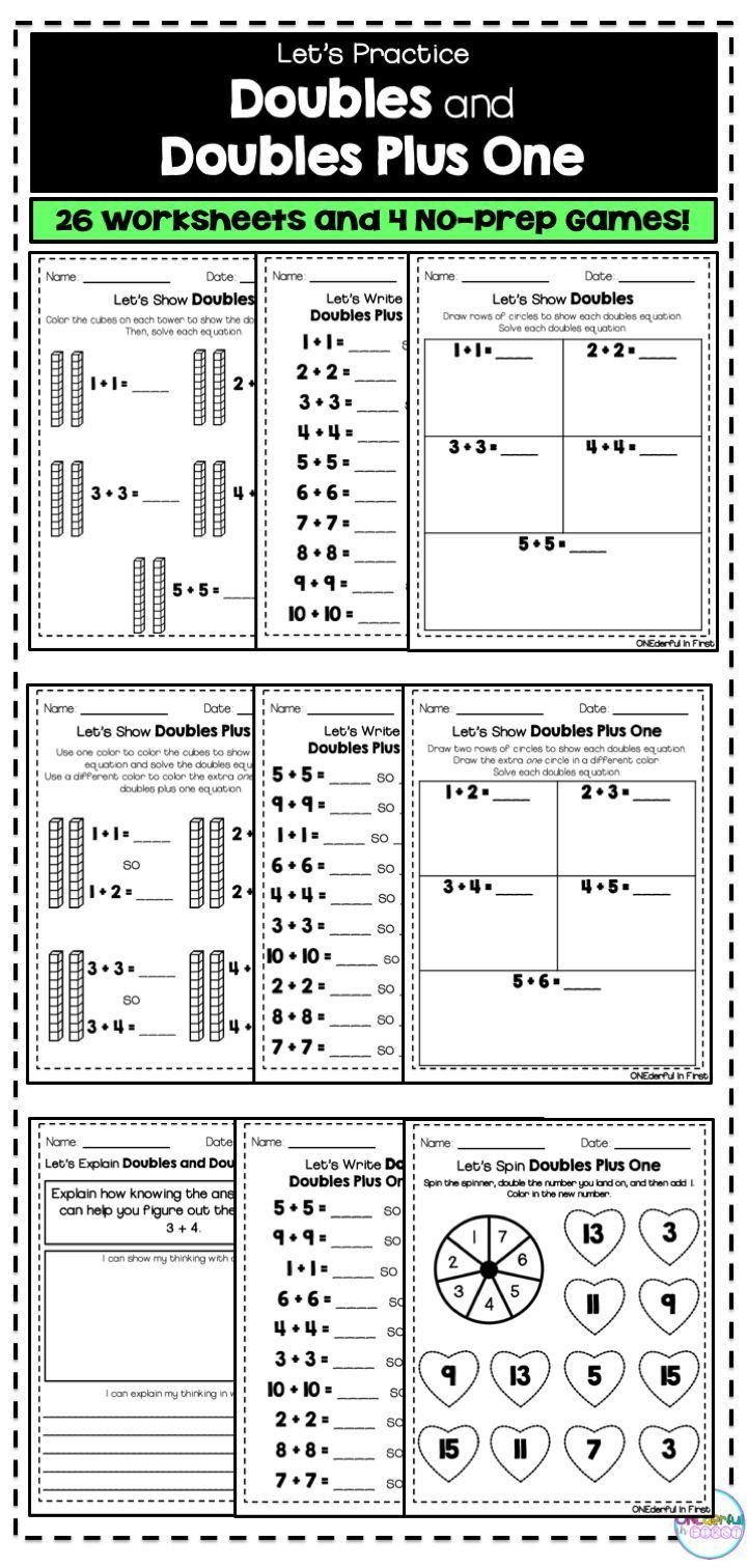 3 Alphabet Worksheets Primary Doubles And Doubles Plus E Worksheets And No Prep Games In 2020 Learning Worksheets Addition Worksheets Math Worksheet [ 1512 x 720 Pixel ]