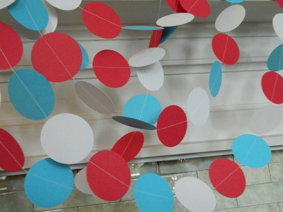 Paper Garland 10ft  Red Aqua and White Baby by anyoccasionbanners, $12.00