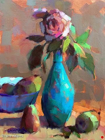 Turquoise Vase by Trisha Adams Oil ~ 16 x 12