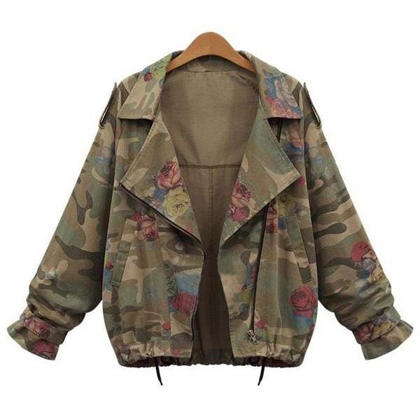 Stylish Turn-Down Collar Long Sleeve Camouflage Pattern Floral Women's... ($22) ❤ liked on Polyvore featuring outerwear, jackets, coats & jackets, tops, collar jacket, camo print jacket, camo jackets, long sleeve jacket and brown jacket