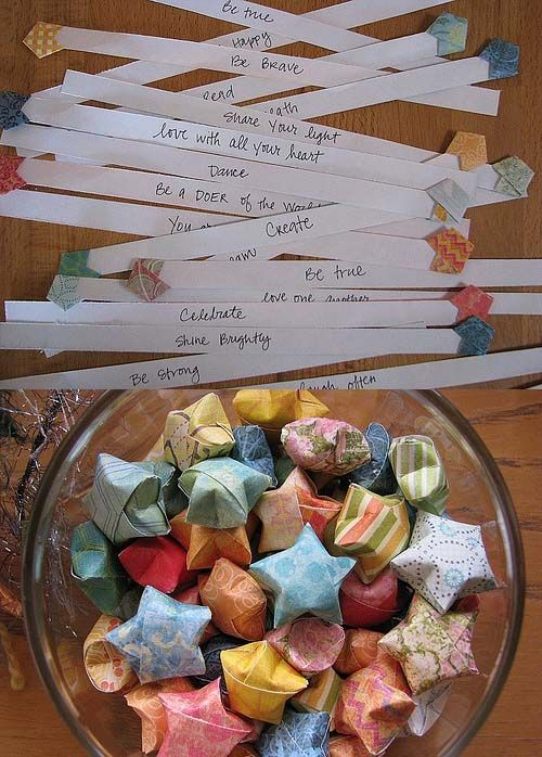 Each origami star holds a message inside. Could also use on a cocktail stick as cake topper or string up different sizes to make a garland...