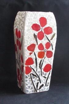 Red Poppy Vase in Mosaic $45