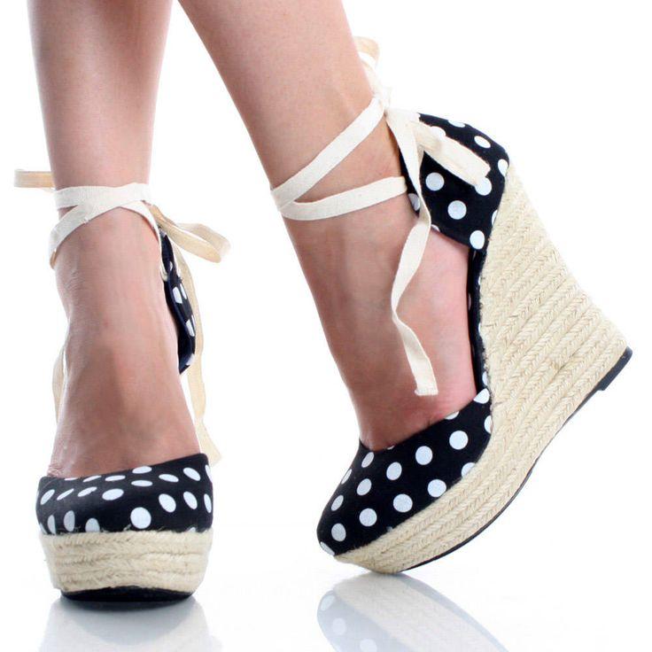 Black-Canvas Polka Dot Espadrille Womens Heel Platform Wedge Shoes   47131