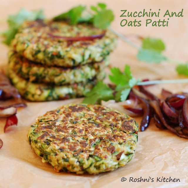 Zucchini/Courgette And Oats Patty for a burger, open sandwich or as a fritter. Healthy, Vegan and Gluten Free.