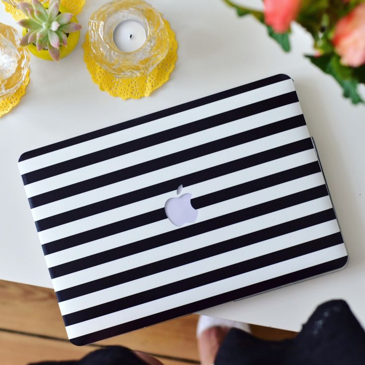 Monocrome  MacBook Case.  Stylish black and white hard case for your laptop to match your daily outfit.  Perfect for the office.