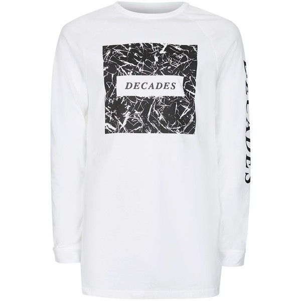 TOPMAN White Printed Longline T-Shirt (69 BRL) ❤ liked on Polyvore featuring men's fashion, men's clothing, men's shirts, men's t-shirts, white, mens print shirts, mens raglan shirts, mens raglan t shirt, mens leopard print t shirt and mens white crew neck t shirts