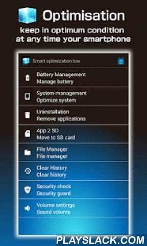 """Optimization Box -Clean Master  Android App - playslack.com ,  File manager and security guard of the new features have been added.Optimization Clean master for android!!We win massive praise from users!""""Smart Optimization Box"""" will give you more benefit along with its optimization function. It can prolong standby time by starting Eco mode and brightness control. its prefect system management can help your smart phone speedup.it can clear cache files and histories in the device. In addition…"""