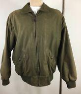 Timberland WeatherGear Leather Jacket Mens XL Olive Green