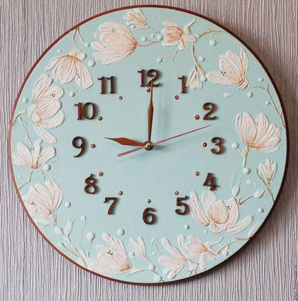 Часы для дома ручной работы. Ярмарка Мастеров - ручная работа. Купить Часы Королевская магнолия. Handmade. Мятный, мятные часы