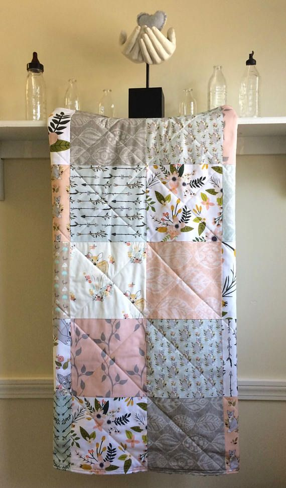 Baby Girl Quilt Floral Pastel Quilt Blush Baby Bedding