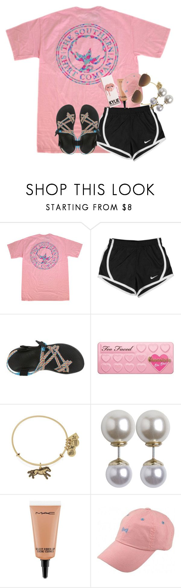 """orientation today"" by cristentaylor ❤ liked on Polyvore featuring NIKE, Chaco, Too Faced Cosmetics, Alex and Ani, Pieces, MAC Cosmetics and Ray-Ban"