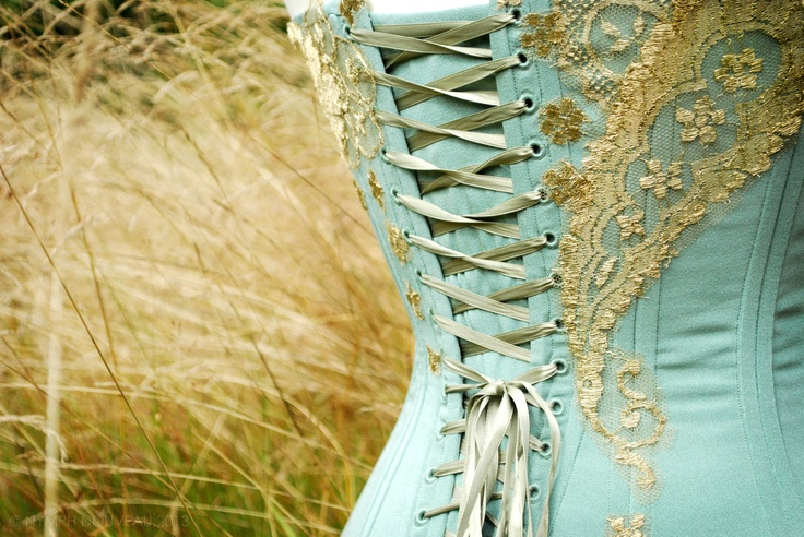 """""""Inspire me, Maud!"""" A corset in silk crepe and chantilly lace (detail of back view) that was inspired by a dress made by Lafarrière for Queen Maud of Norway in 1909. If you want to see more of this corset and the inspiration dress behind it, feel free to visit our Facebook site and the little gallery dedicated to it: http://on.fb.me/12fbRxQ"""