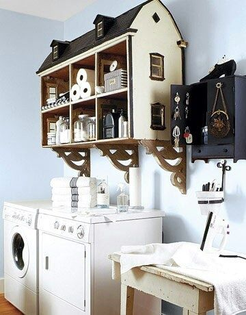 Love this!!!!!! Take a vintage doll house, paint it, and hang to make a fun storage shelf.