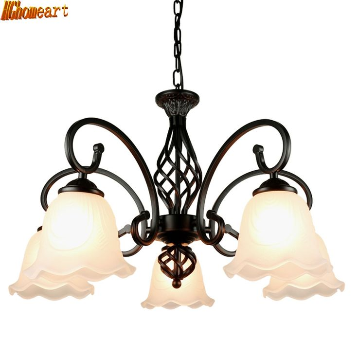 94.35$  Buy here - http://alinti.shopchina.info/1/go.php?t=32814588752 - HGhomeart American Living Room LED Retro Chandelier Bedroom Restaurant Atmosphere Mediterranean Iron E27 Ceiling Lamp  #aliexpresschina