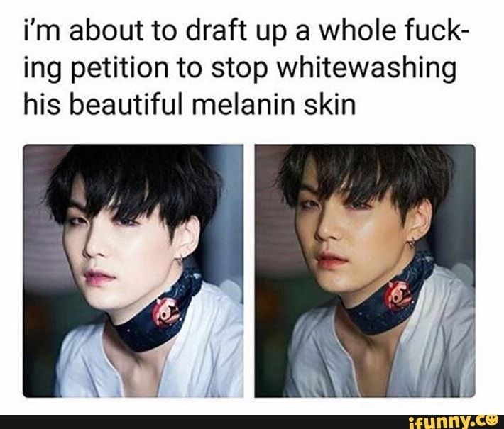 Min Yoongi | Suga | BTS | the same goes for all other members. When will people understand that most asians don't actually have porcelain-like white skin. And what's so wrong about their wonderful natural skin colour anyway? It's beautiful!