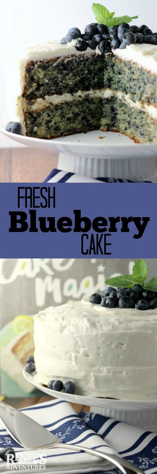 Fresh Blueberry Cake | Renee's Kitchen Adventures - fresh blueberries in a moist homemade cake coated in cream cheese frosting for the dessert any day of the week!  Easy cake from-scratch cake recipe from Cake Magic! the cookbook. #WeekdaySupper #ad #CakeMagic @workmanpub @thewrightcook