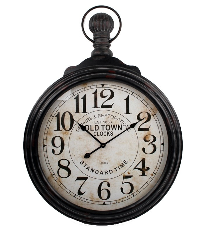 pocket wall clock with a weathered white face and black wood frame product wall clock m
