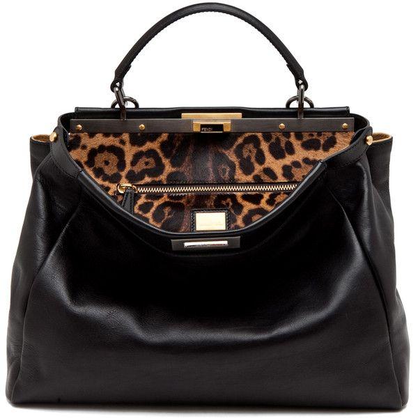 Fendi Peekaboo Handbag in Black/Leopard ❤