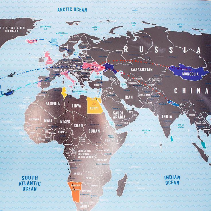 World Scratch Map // Blue + Silver