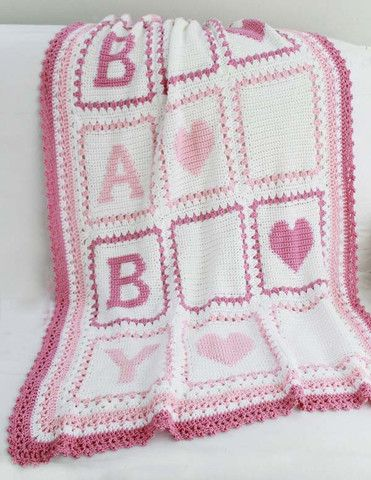 "Watch Maggie review this precious Baby Alphabet Blocks Afghan Crochet Pattern! Designed By:Anna Tapp Skill Level: Intermediate Size: 35"" x 45"" Materials: Worsted Weight Yarn; White (MC) 19 1/4 oz, 102"