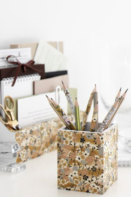Make wooden stationery holders & pencils look prettier & coordinated with your room by covering them in pretty papers.