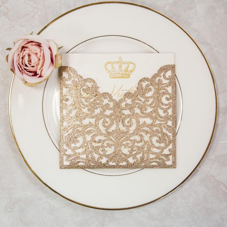 Dodola - Elegant Glitter Paper Laser Cut Pocket