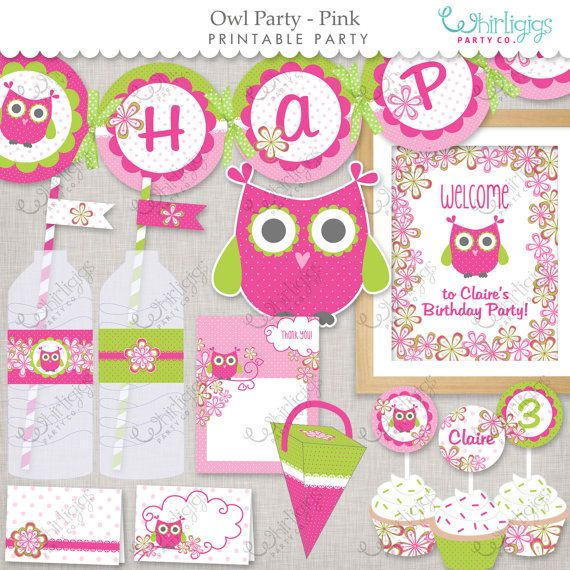 Owl Party  Pink  Printable Party Supplies  by whirligigspartyco #owl party kit#owl party#owl decorations