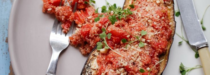 Aubergine stuffed with Cherry Tomatoes and Quinoa
