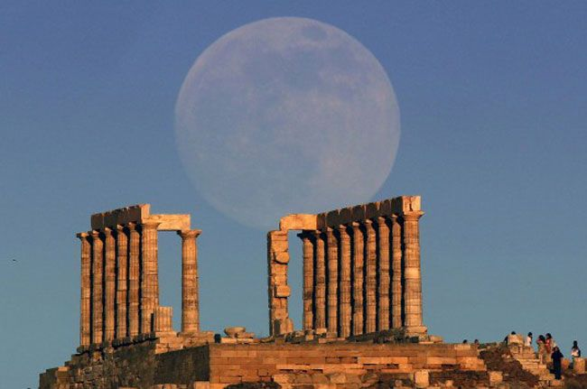 Full moon over the Temple of Poseidon in Cape Sounion ~ Greece