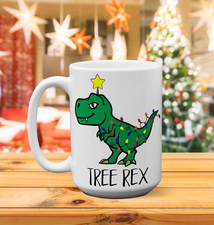 Christmas tree rex/lights/Plaid/dinosaur mug/Hot chocolate/gift for her/holiday/sarcastic mug/coffee mug/tea mug/funny gift/christmas gift by GoldenLilyCreations on Etsy